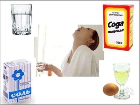 полоскание горла с содой